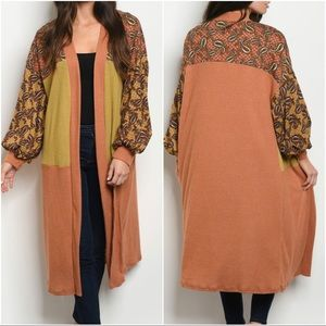 Sweaters - NWT Paisley Patch Open Front Boho Cardigan Duster